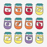 Set of doodle jars with jam. Hand-drawn vector. Illustration. Sketch Stock Image