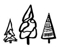 Set doodle jedlinowi drzewa Fotografia Stock