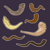 Set of doodle Jewish horn Rosh Hashanah. history of the traditio Royalty Free Stock Photo
