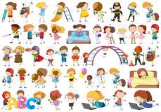 Set doodle kids character royalty free illustration