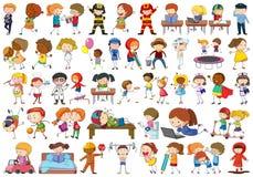 Set of doodle kids character vector illustration