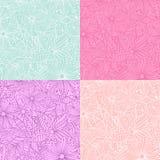 Set 4 doodle kwiatów bezszwowego wzoru Obraz Stock