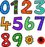 Set Doodle liczby Obrazy Stock