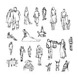Set of doodle lined people. Trace collection. Stock Photos