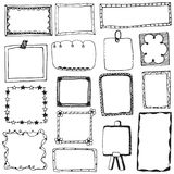 Set of doodle lines hand drawn frames vector illustration Royalty Free Stock Photo