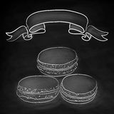 Set of  doodle macaroon. Chalkboard background with ribb Stock Photos