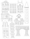 Set Doodle miasta budynków struktur Kreskowa sztuka Żadny pełnia Bridżowego domu mieszkanie Obrazy Royalty Free