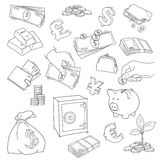 Set of doodle money symbol vector illustration Stock Images