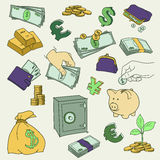 Set of doodle money symbol vector illustration Stock Photography