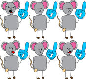 Set of doodle mouse sports fan with glove, with facial expressions Royalty Free Stock Photo