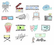 Set doodle movie icons isolated Royalty Free Stock Photography