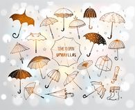 Set doodle nakreślenia parasole na białym rozjarzonym tle Fotografia Royalty Free