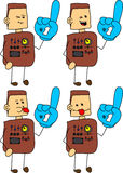 Set of doodle naughty robot, android sports fan with glove Stock Image