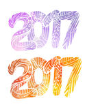 Set of doodle numbers 2017 with boho pattern. And watercolor background with splashes. Vector element for your creativity Stock Images