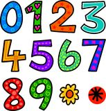 Set of Doodle Numbers Stock Images