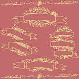 Set of doodle ornate floral ribbons Royalty Free Stock Photo