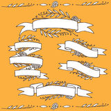 Set of doodle ornate floral ribbons Royalty Free Stock Photography