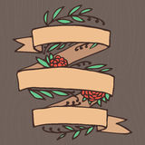 Set of doodle ornate floral ribbons Royalty Free Stock Photos