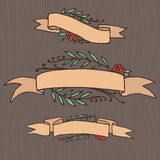 Set of doodle ornate floral ribbons Stock Photos