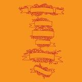 Set of doodle ornate fruit ribbons Stock Image