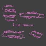 Set of doodle ornate fruit ribbons Stock Photography