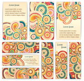 Set of  doodle paisley posters for your business Royalty Free Stock Image