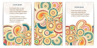 Set of  doodle paisley posters for your business Stock Image