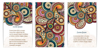 Set of  doodle paisley posters for your business Royalty Free Stock Photo