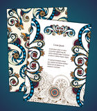 Set of  doodle paisley posters for your business Stock Photo