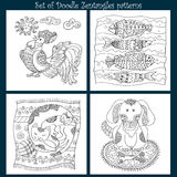 Set of Doodle pattern for coloring. Decorative background with doodle  animal Royalty Free Stock Photo