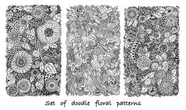 Set of doodle pattern in vector with flowers and paisley. Royalty Free Stock Images
