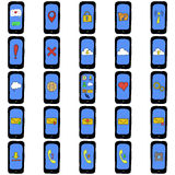 Set of doodle phones with different functions Stock Photo