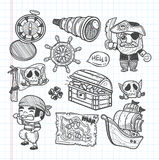 Set of doodle pirate icons Royalty Free Stock Photos