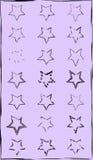 Set doodle pociągany ręcznie gwiazdowe girlandy na chalkboard tle dwadzieścia jeden gwiazda Obraz Royalty Free