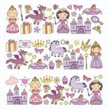 Set of doodle princess and fantasy icon and and design element for invitation and greeting card. Kids drawing Stock Images