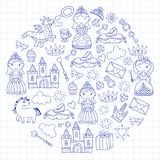 Set of doodle princess and fantasy icon and and design element for invitation and greeting card. Kids drawing Stock Photo