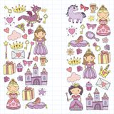 Set of doodle princess and fantasy icon and and design element for invitation and greeting card. Kids drawing Stock Image