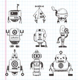 Set of doodle robot icons Royalty Free Stock Photos