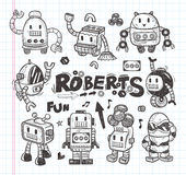 Set of doodle robot icons, illustrator line tools  Stock Photo