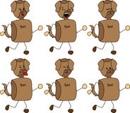 Set of doodle runner dog with facial expressions Royalty Free Stock Images