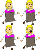 Set of doodle runner exhausted woman Stock Photo