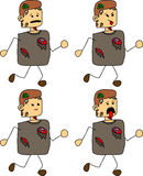 Set of doodle runner exhausted zombie Stock Photos
