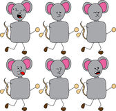 Set of doodle runner mouse with facial expressions Royalty Free Stock Photography