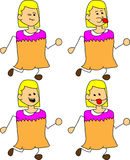 Set of doodle runner naughty woman Royalty Free Stock Images