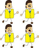 Set of doodle runner scared businessman Royalty Free Stock Photo