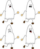 Set of doodle runner scared ghost Royalty Free Stock Images