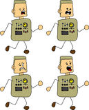 Set of doodle runner scared robot, android Stock Images