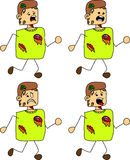 Set of doodle runner scared zombie Stock Photo