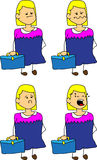 Set of doodle sad business woman with a briefcase Royalty Free Stock Photography