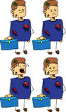 Set of doodle sad business zombie with a briefcase Royalty Free Stock Photography